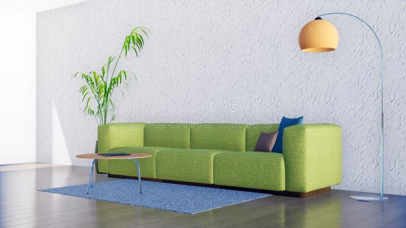 Zielona kanapa w minimalistic żywym izbowym wnętrzu 3D ilustracji