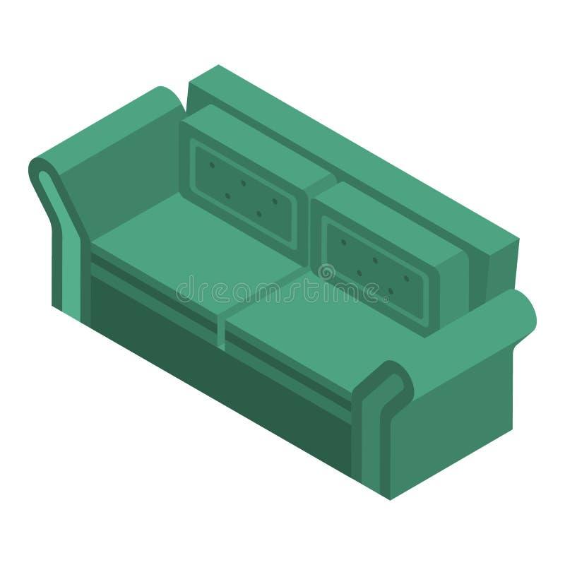 Zielona kanapy ikona, isometric styl ilustracja wektor