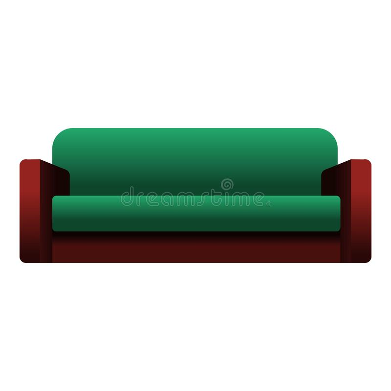 Zielona kanapy ikona, kreskówka styl ilustracji