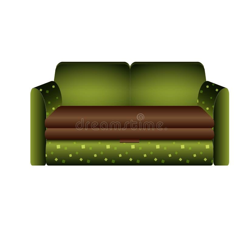 Zielona kanapy ikona, kresk?wka styl royalty ilustracja