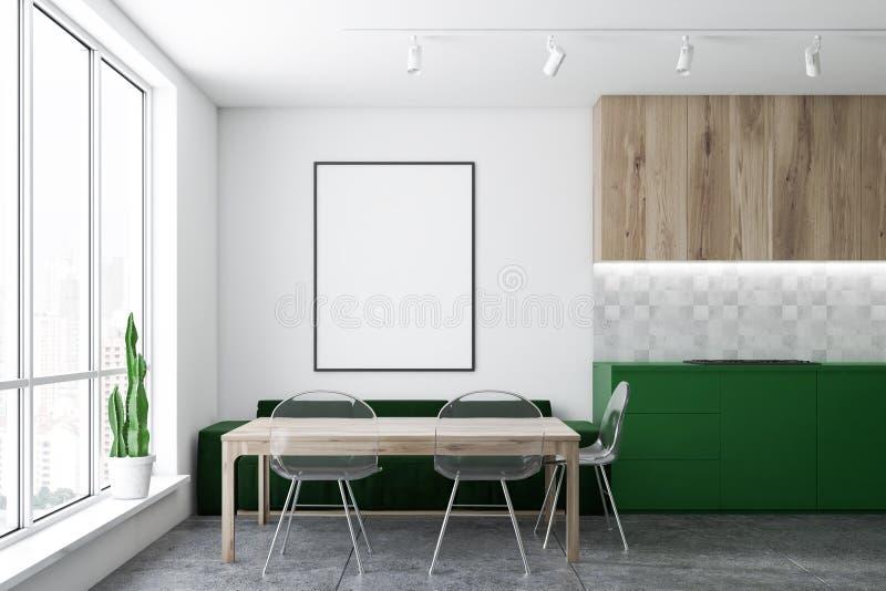 Zielona kanapy kuchnia z plakatem ilustracja wektor