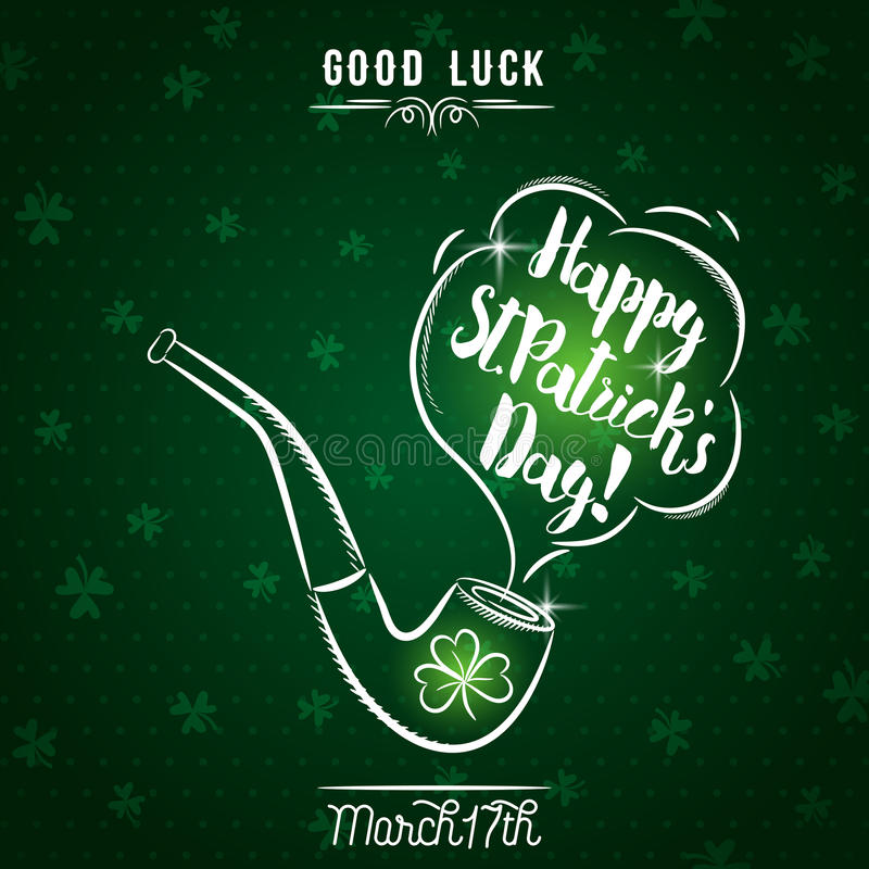 Zielona karta dla St Patrick ` s dnia z drymbą i shamrock, wektor royalty ilustracja