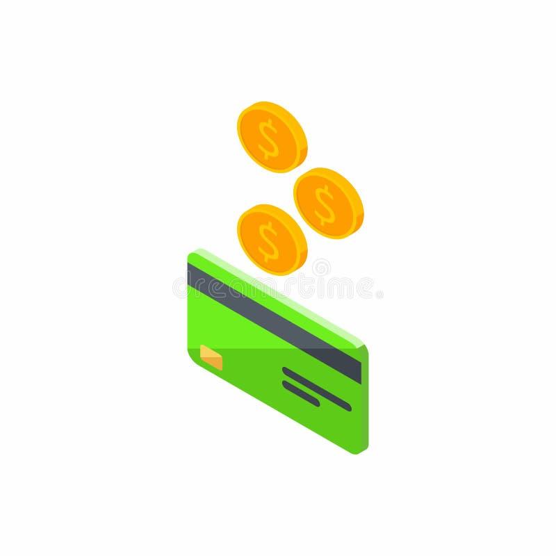 Zielona karta kredytowa, Zarabia pieniądze, Isometric, moneta, finanse, bank karta, biznes, wektor, gotówka dostaje bank kartę royalty ilustracja