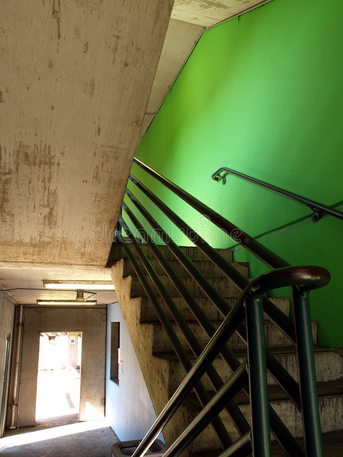 Zielona Klatka Schodowa Zdjęcia Stock