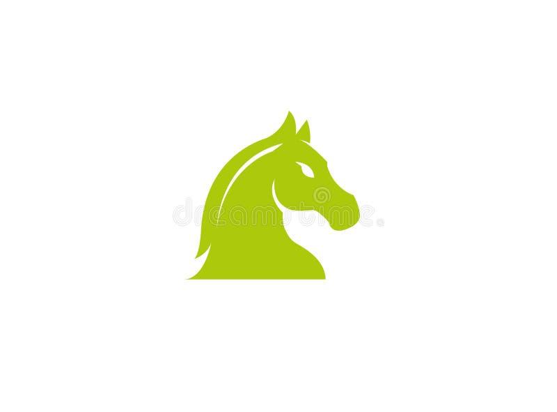 Zielona końska głowa dla szachowego symbolu dla logo projekta royalty ilustracja