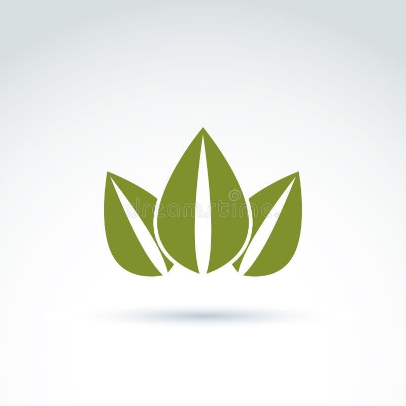 Zielona korona tworząca od trzy liści, wektorowy ekologii coronet e royalty ilustracja