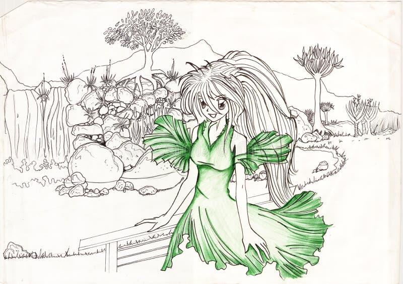 zielona krajobrazowa naturalna kobieta fotografia royalty free