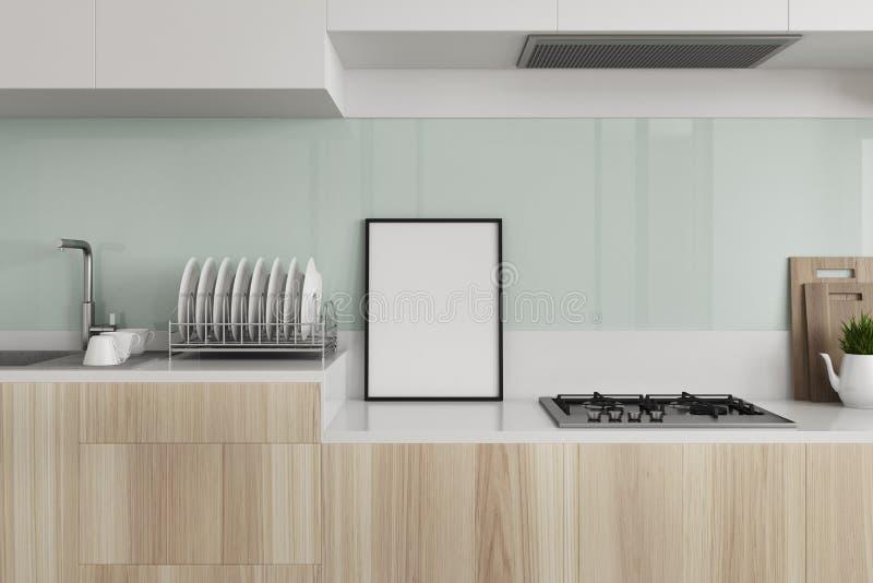 Zielona kuchnia, drewniany countertop, plakat ilustracji