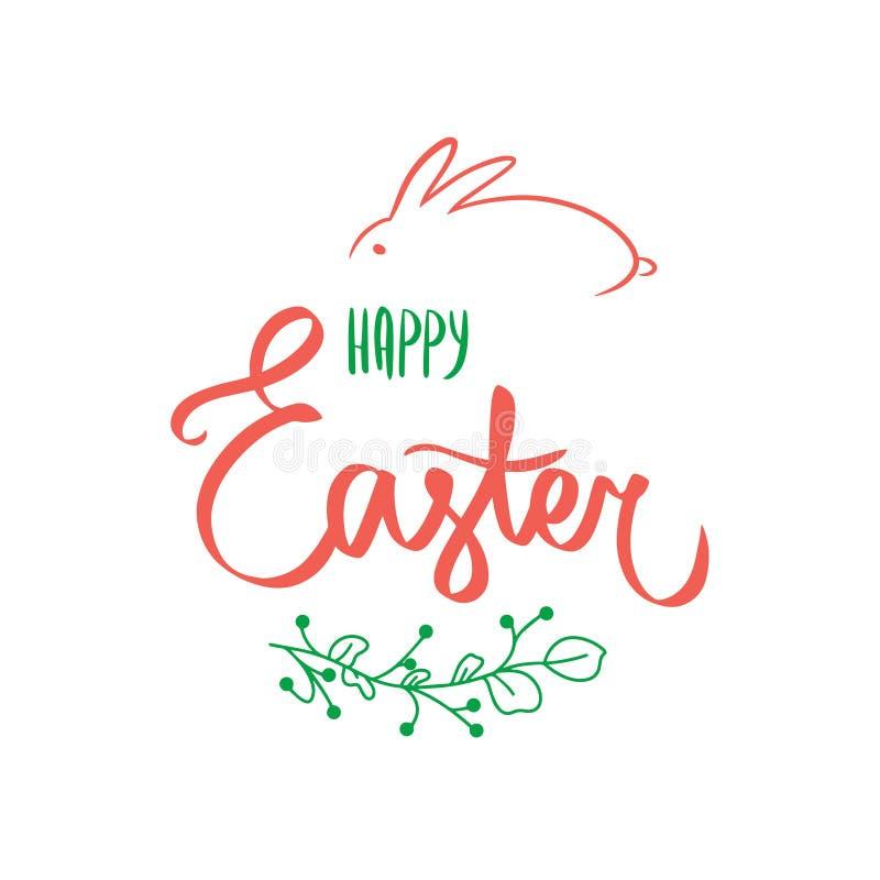 Zielona kwiat karta z s?odkim Szcz??liwym Easter podpisuje wewn?trz pomara?czowego kolor z ?licznym kr?likiem Kwiat zieleni grani ilustracja wektor