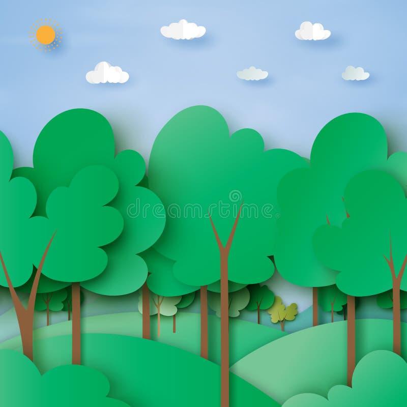 Zielona lasu i natury tła papieru krajobrazowa sztuka projektuje ilustracja wektor