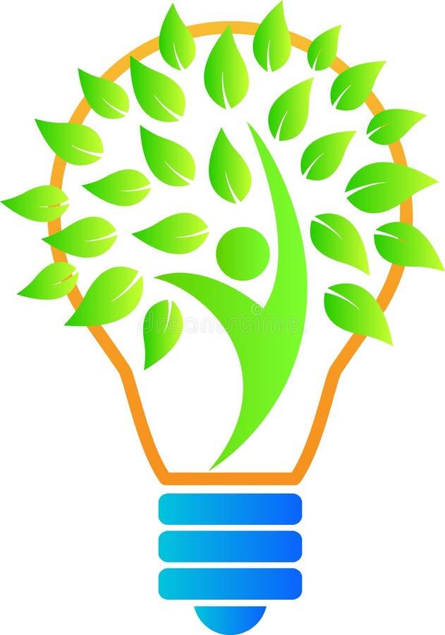 Zielona liść żarówka ilustracji