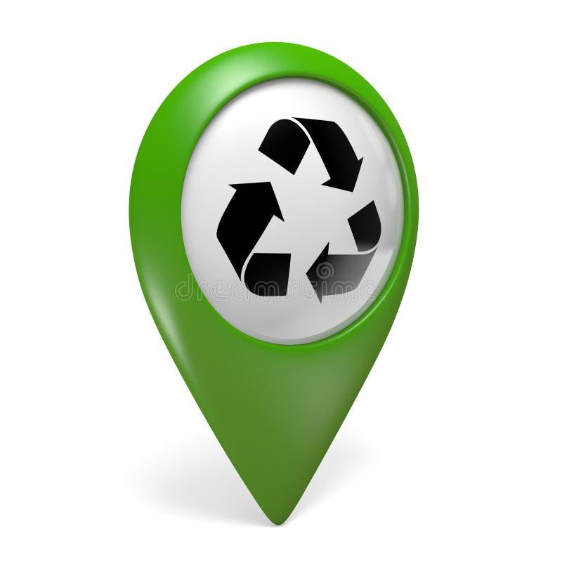 Zielona mapa pointeru ikona z symbolem dla przetwarzać centra, 3D rendering ilustracji