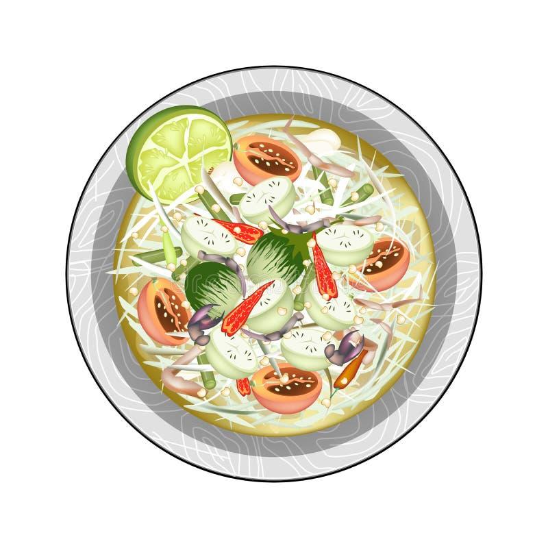 Zielona melonowiec sałatka z Zielonymi oberżynami i Solonymi krabami royalty ilustracja