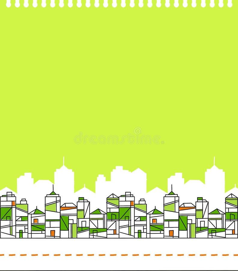 Zielona miasto linii horyzontu ilustracja ilustracja wektor