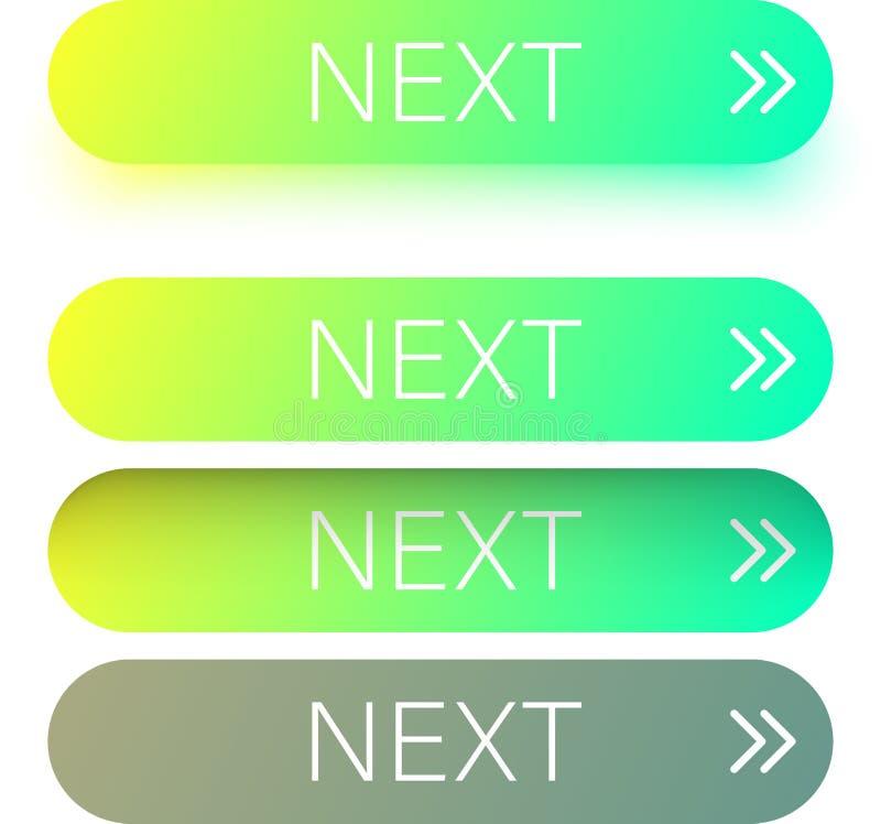 Zielona następna sieć zapina z strzała odizolowywającą na bielu ilustracja wektor