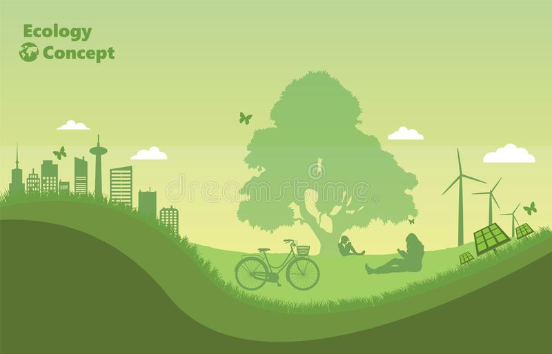 zielona natura ludzie czytelniczej książki pod drzewem ilustracja wektor