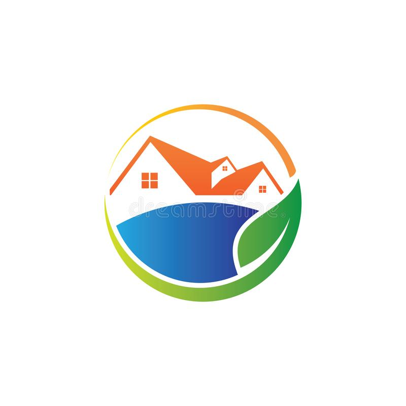 zielona natura przyjazny dom dom nieruchomości nieruchomości sprzedaż rynku wektor projekt logo ilustracji