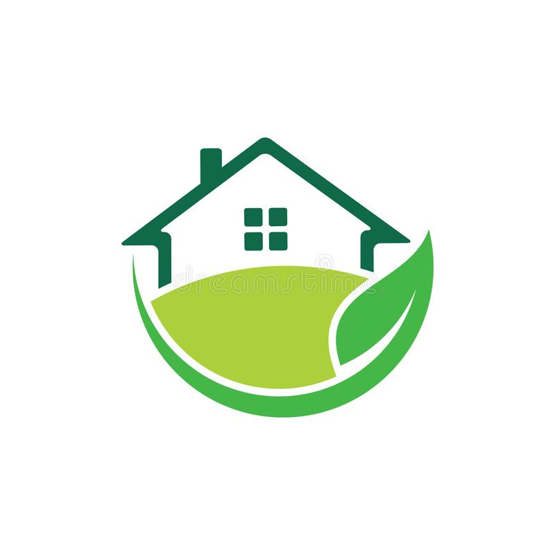 zielona natura przyjazny dom dom nieruchomości nieruchomości sprzedaż rynku wektor projekt logo royalty ilustracja