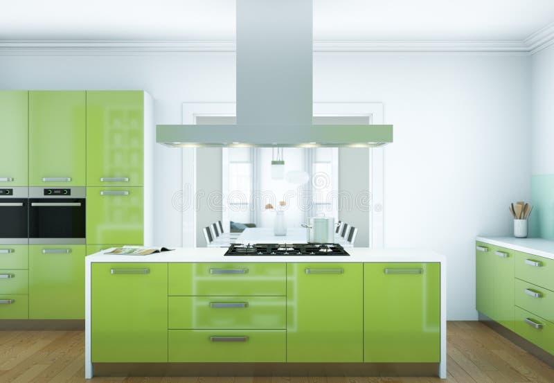 Zielona nowożytna kuchenna wewnętrznego projekta ilustracja obrazy royalty free