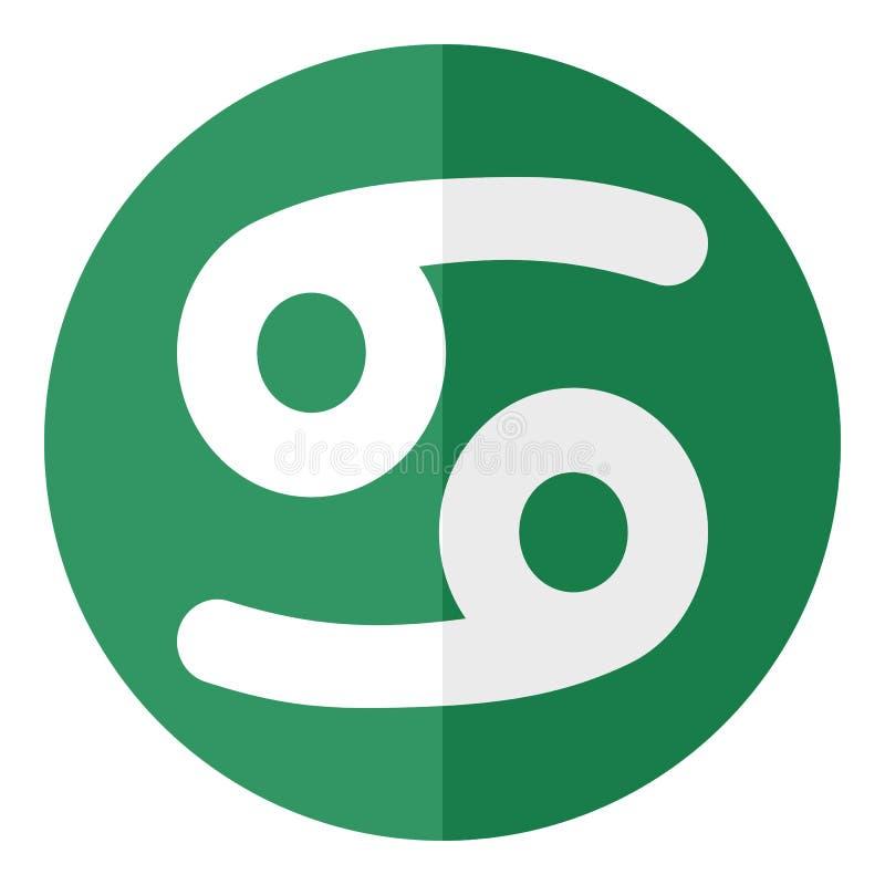 Zielona nowotworu zodiaka znaka mieszkania ikona ilustracja wektor