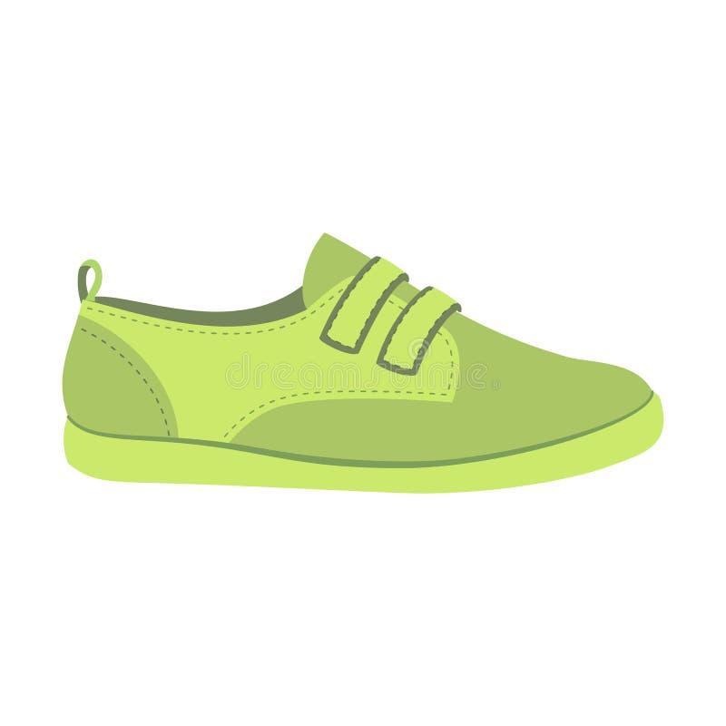 Zielona obuwiana ikona, mieszkanie styl ilustracji