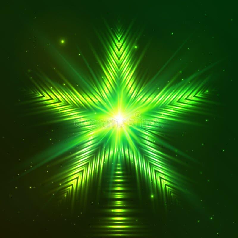 Zielona olśniewająca pięcioramienna gwiazda royalty ilustracja