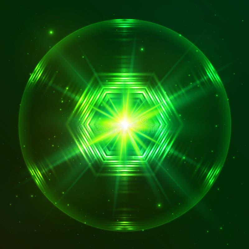 Zielona olśniewająca techno wektoru sfera royalty ilustracja