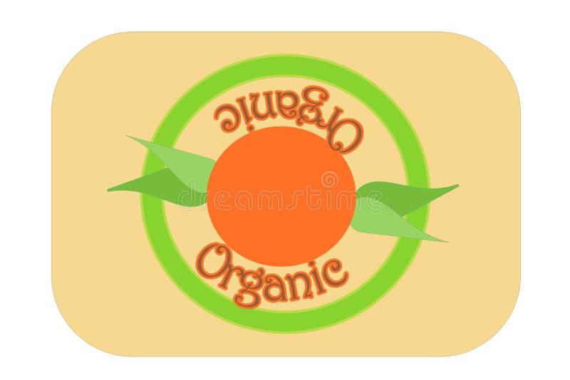 Zielona organicznie etykietka znaczka ilustracja z ranków liśćmi i słońcem zdjęcie royalty free