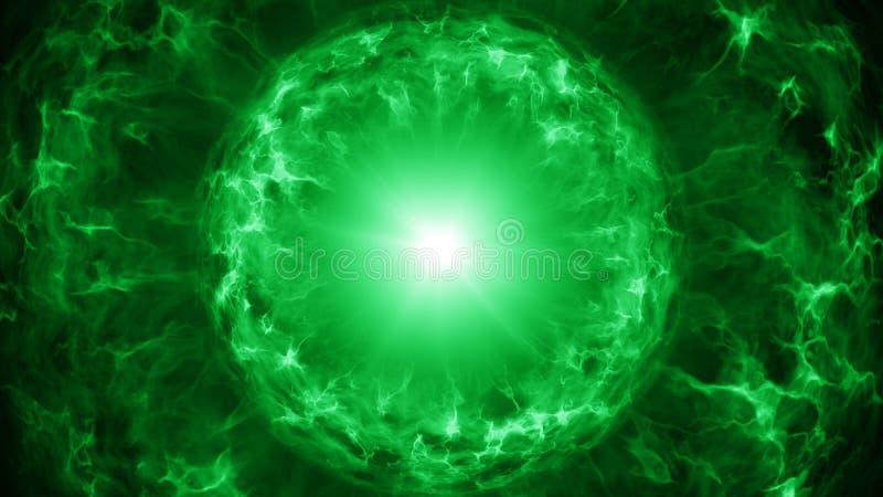 Zielona osocze sfera z energetycznymi ładunkami ilustracja wektor