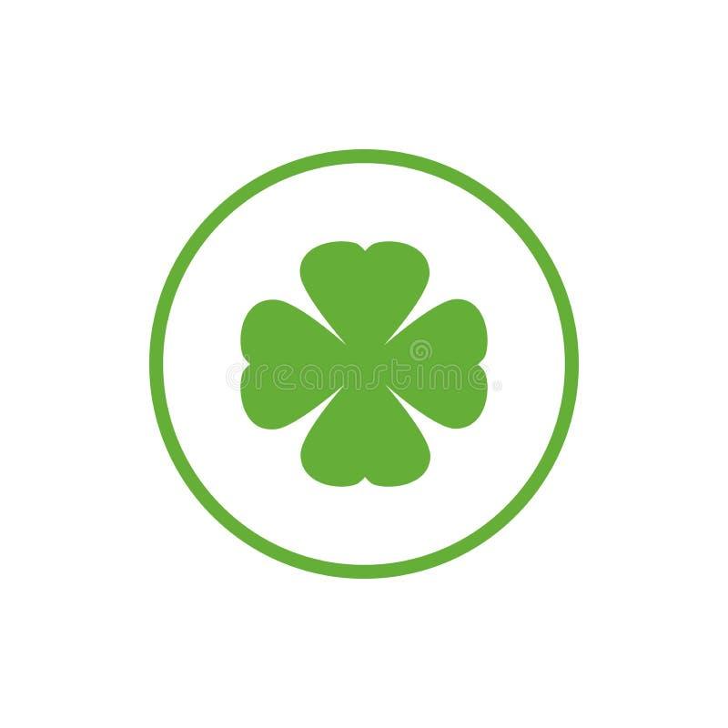 Zielona płaska ikona irlandzka koniczyna w okręgu Shamrock odizolowywający na bielu również zwrócić corel ilustracji wektora Eco  ilustracji