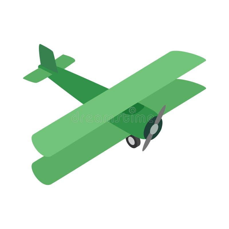 Zielona płaska ikona, isometric 3d styl royalty ilustracja