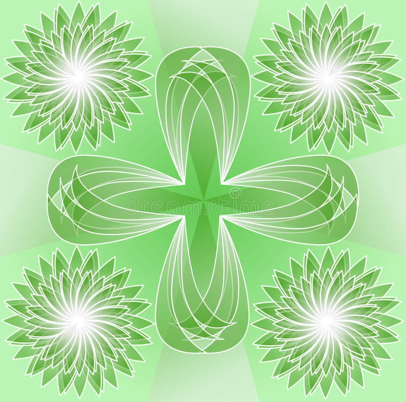 Zielona płytka z abstrakcjonistycznymi kwiecistymi kształtami, symetrią, przejrzystą elementów, horyzontalnej i pionowo, biel kon royalty ilustracja
