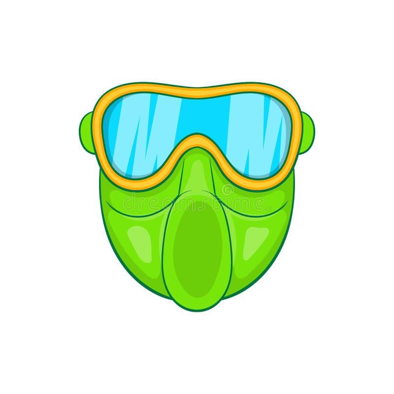 Zielona paintball maski ikona, kreskówka styl ilustracji