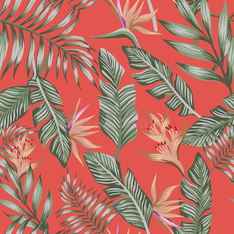 Zielona palma opuszcza brązowi tropikalnych kwiaty bezszwowy modny koralowy b royalty ilustracja