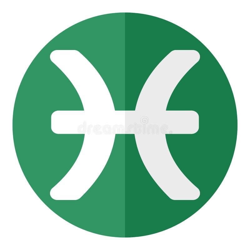 Zielona Pisces zodiaka znaka mieszkania ikona royalty ilustracja