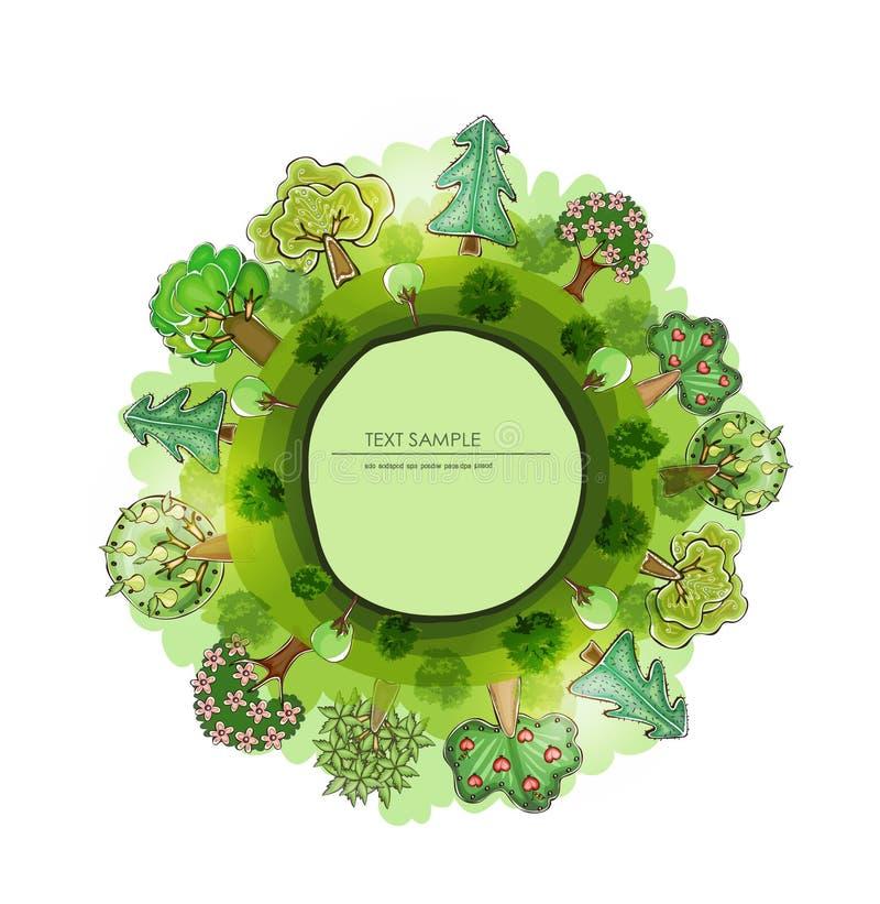 Zielona planeta, środowiskowa pojęcie ilustracja, Mała wioska ilustracji