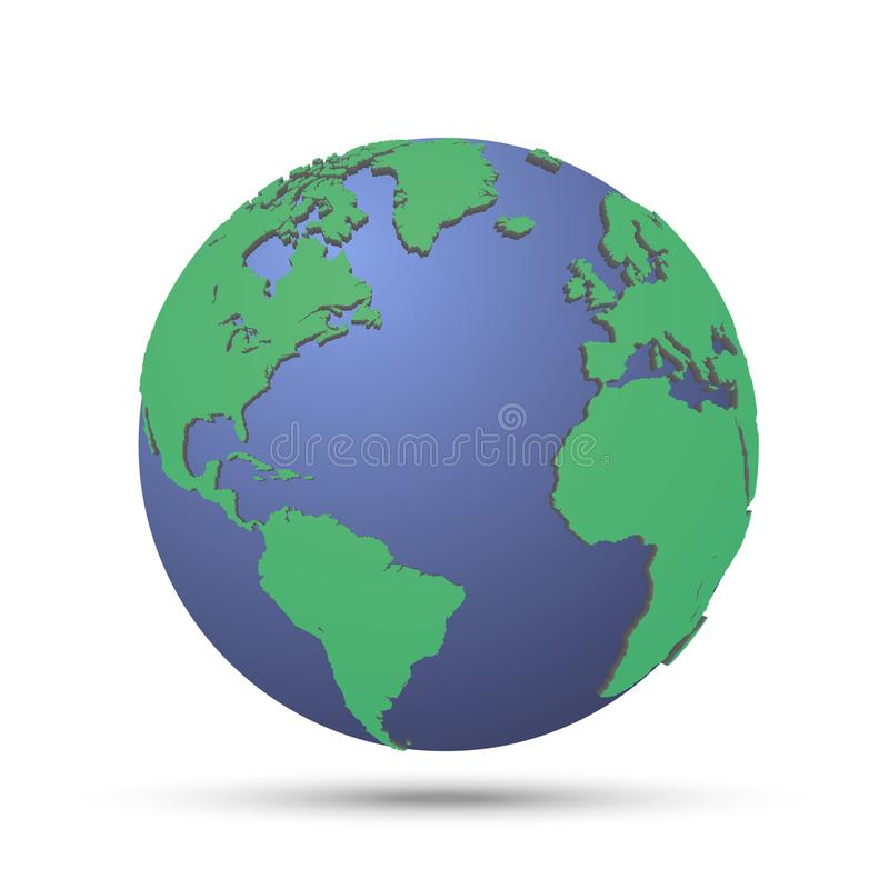 Zielona planeta z kontynentem ilustracja wektor
