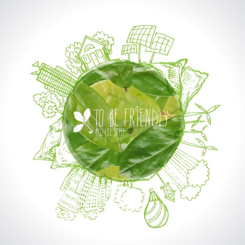 Zielona planeta z okrąg ekologii doodles Kreślący eco elementy z ziemią i liśćmi royalty ilustracja