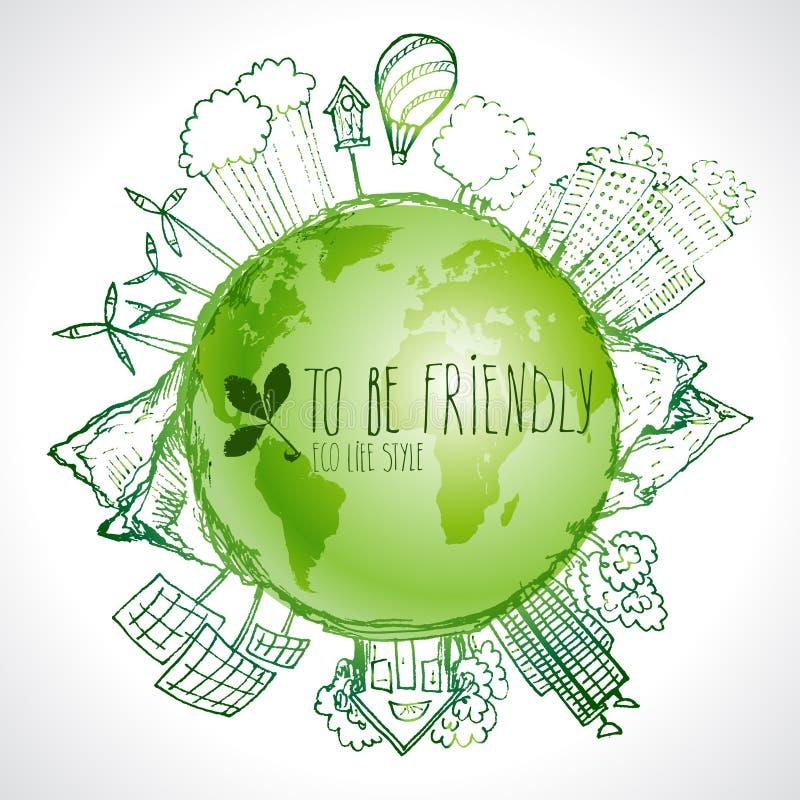 Zielona planeta z okrąg ekologii doodles Kreślący eco elementy z ziemską i światową mapą ilustracji