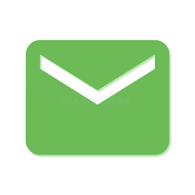 Zielona poczty ikona na Białym Blackground ilustracji