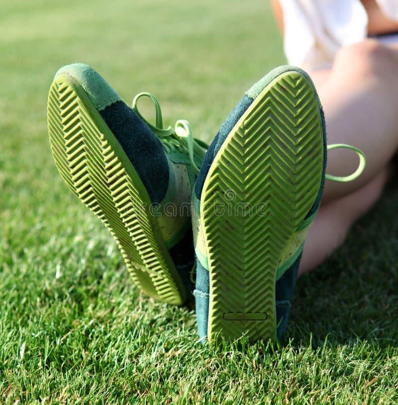 Zielona podeszwa buty  obraz royalty free
