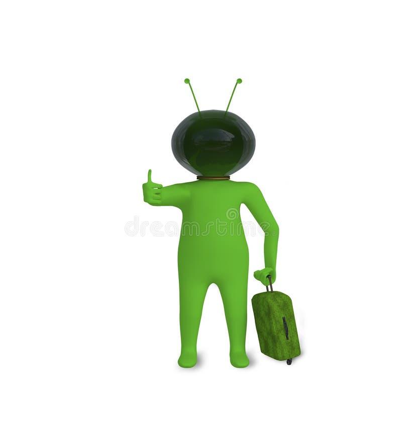 Download Zielona Postać Z Szklanym Hełmem Ilustracji - Ilustracja złożonej z skrzynka, opuszczać: 41952585