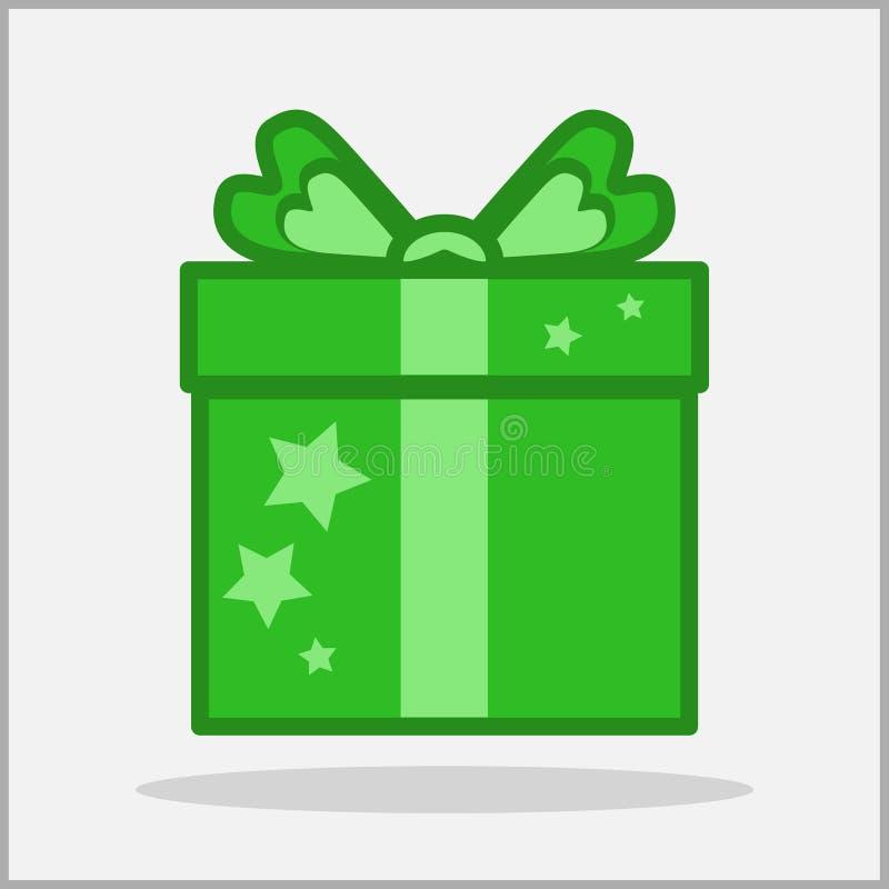 Zielona prezent ikona zdjęcie stock