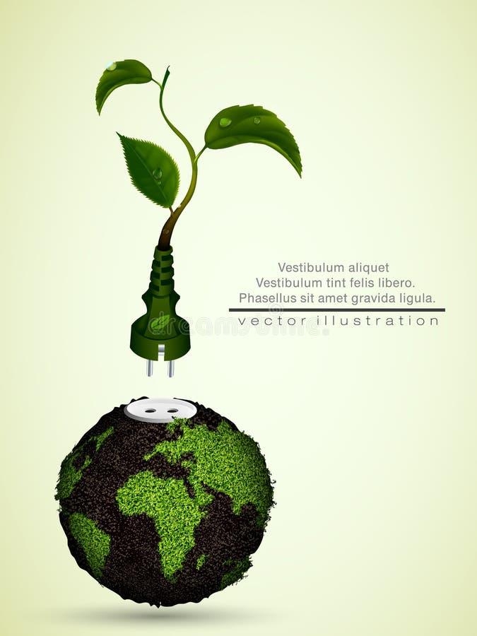 Zielona prymka z liśćmi i planetą royalty ilustracja