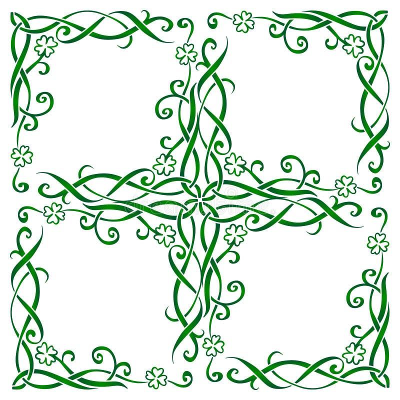 Zielona ręka rysująca ozdobna wektorowa celta stylu rama z triskels i liść koniczynami, tradycyjny pielucha druk royalty ilustracja