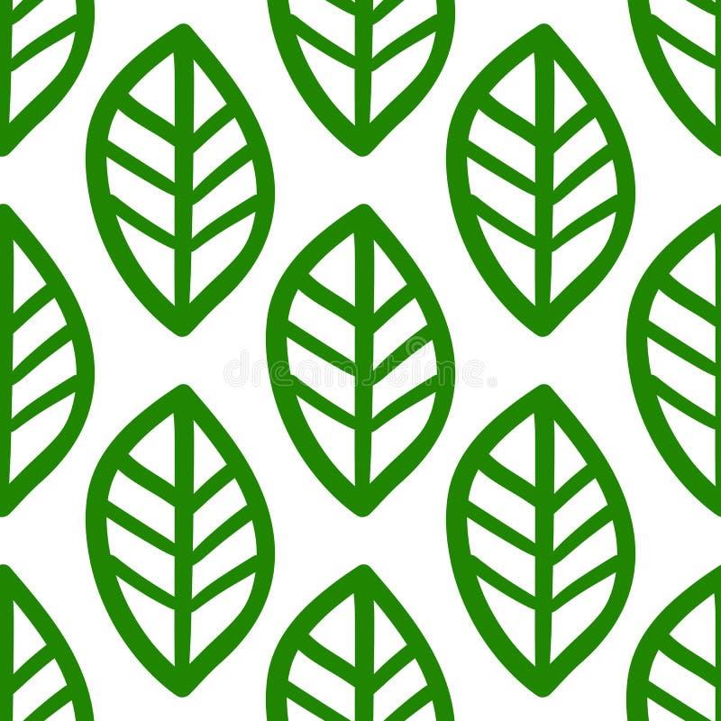 Zielona ręka rysujący liścia wzór na białym tle royalty ilustracja