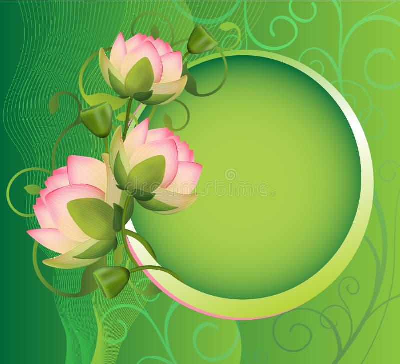 Zielona rama z lotosowym kwiatem royalty ilustracja