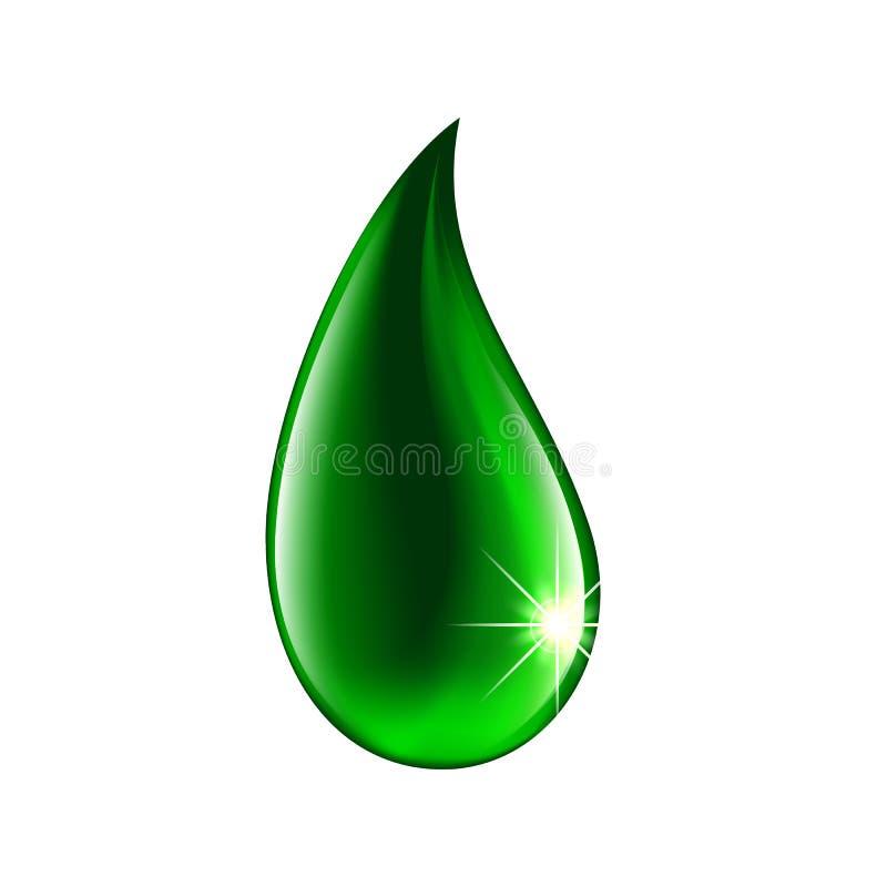 Zielona rozjarzona kropla, kropla ciecz na białym tle wektor ilustracja wektor