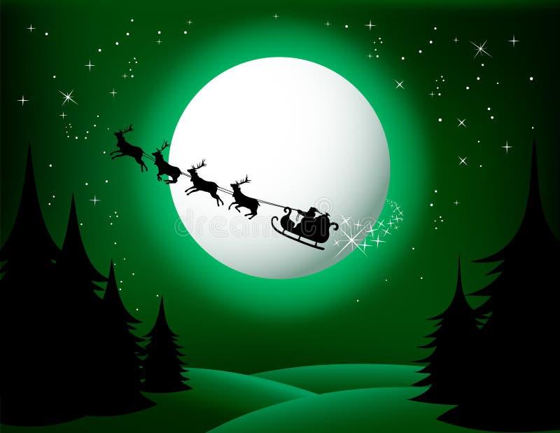 zielona s Santa sania wektoru wersja royalty ilustracja