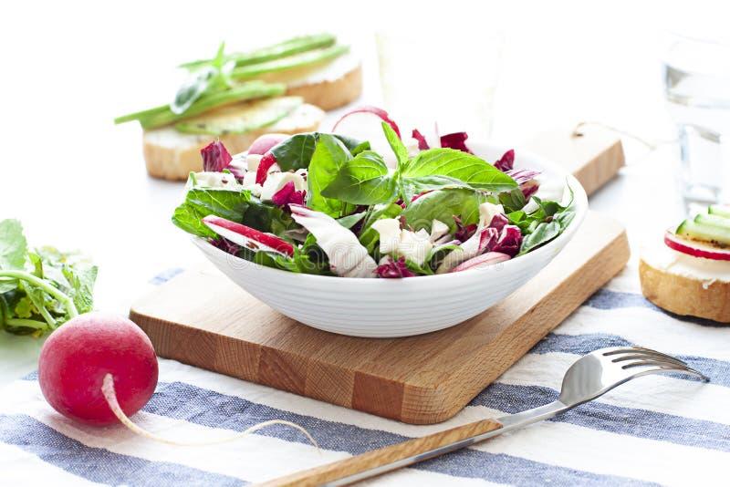 Zielona sałatka z sałatą, szpinakami, rzodkwią i radicchio w pucharze, zdjęcie stock